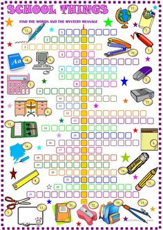 School things : crossword puzzle with key