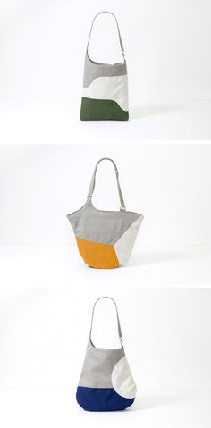 of Marten Labs crafts simple, color-blocked bags from microfiber, linen and cotton — but no leather. Use this idea with wool felt? Sacs Tote Bags, Backpack Bags, Crossbody Bags, Patchwork Bags, Quilted Bag, My Bags, Purses And Bags, Computer Bags, Denim Bag