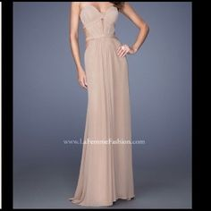 AVAIL. Beautiful La Femme Long Dress Tan (latte) La Femme long dress. Prom/Formal attire. Size 0/1. Open back and cups removed. Removable straps. Altered to about 5'6 height. Perfect condition. Ask for more details (original price is with alterations but doesn't include tax). Different price through Ⓜ️/️️ (preferred). Once purchased-strictly no refunds. Serious buyers only, thanks. La Femme Dresses
