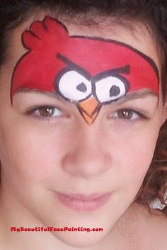 Angry Birds Face Paint.  Tag red for background with brush.  White eyes with round sponger-DFX white.  Beak-tag orange.  Black DFX-outline.