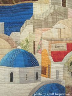 """close up, """"Santorini Afternoon"""" by Fran McNamee. The technique came from Sue Rasmussen's class. 2015 DVQ show (California).  Photo by Quilt Inspiration."""