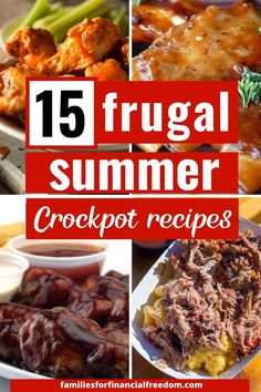 You'll love these 15 cheap and easy summer Crockpot recipes! These delicious Crockpot recipes are perfect for gatherings with family and friends! Give these awesome, cheap summer slow cooker recipes a try! Some of the best frugal summer Crockpot recipes! #slowcookerrecipes #recipes #slowcooker #slowcookerchicken #summerrecipes #cheaprecipes #dinnerrecipes Slow Cooker Barbecue Ribs, Slow Cooker Shredded Beef, Slow Cooker Baked Beans, Slow Cooker Lentils, Easy Family Meals, Frugal Meals, Budget Meals, Delicious Crockpot Recipes, Easy Dinner Recipes