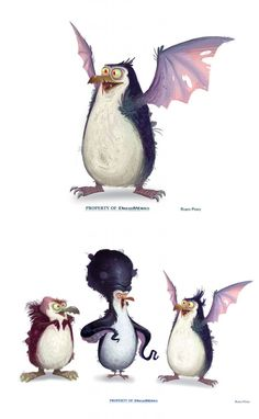 More odd penguins by Ruben Perez for DreamWorks Character Design Animation, Character Design References, Penguins Of Madagascar, Madagascar Movie, Shrek, Monster Illustration, Monster Characters, Disney Sketches, Game Concept Art