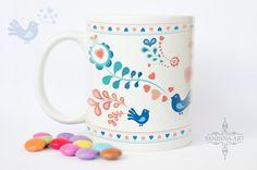 """Ceramic mug """"FOLK - JOY"""", 11 oz, folk design ornaments by janinnaART on Etsy"""