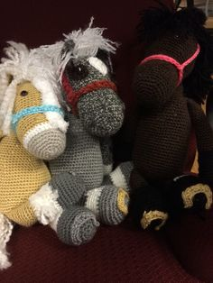 my first 3 horse stuffed animal dolls  halters horse shoes