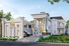 Classic House Exterior, Classic House Design, Dream House Exterior, Villa Design, Floor Design, Bali House, House 2, Indian Architecture, Architecture Design
