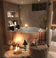 Creating a bath for you or your partner can be a transcendent experience. We look here at the necessary requirements for creating a romantic bath experience. Bathroom Goals, Small Bathroom, Bathroom Ideas, Living Room Kitchen, Living Room Decor, Romantic Bath, Dream Bath, Bodypump, Relaxing Places