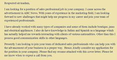 Cover letter examples for sales professional