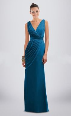 Elegant Ruched V-neck Floor-length Column Bridesmaid Dress