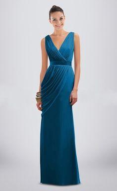 Elegant Ruched V-neck Floor-length Column Bridesmaid Dress