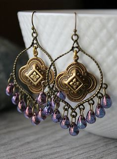Purple Glass Chandelier Earrings, Golden Clover Bohemian Hoops, Large Boho Dangles, Boho Chic Jewelry, Gypsy Jewelry