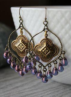 Purple Boho Chandelier boucles d'oreilles créoles par SoleilGypsy