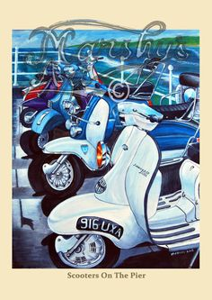 Lambretta Scooter print. and vespa scooter Scooters on the pier.
