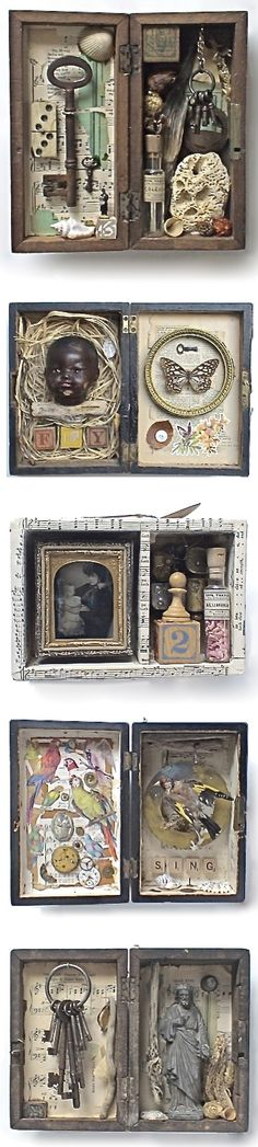 Inspiration for curiosity cabinets - assemblage art by Mike Bennion inspiration for found object art Altered Tins, Mixed Media Collage, Collage Art, Collages, Assemblage Kunst, Arte Steampunk, Creation Art, Diy Inspiration, Art History
