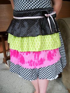Saving 4 Six: Ruffled Apron Made from Old Clothes