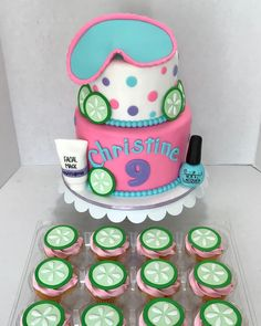 Spa Cupcakes, Spa Party Cakes, Spa Cake, Cupcake Party, Girls Pamper Party, Spa Sleepover Party, Kids Spa Party, Pajama Party, Spa Birthday Cake