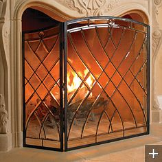 Simple and Impressive Tricks: Small Double Sided Fireplace small wood fireplace.Modern Craftsman Fireplace fireplace and mantels faux mantle. Frontgate, Glass Fireplace, Wood Fireplace, Stained Glass Fireplace Screen, Open Fireplace, Curved Fireplace, Fireplace, Glass Fireplace Screen, Diy Fireplace