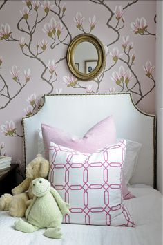 Chic Kids' Rooms. Girls Bedroom with floral wallpaper and custom pillows. #Bedroom Kerrisdale Design Inc. #KidsBedroom #GirlsBedroomDecor