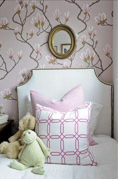 Chic Kids' Rooms. Girls Bedroom with floral wallpaper and custom pillows. #Bedroom Kerrisdale Design Inc. #KidsBedroom #GirlsBedroomDecor