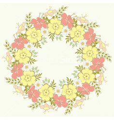 Floral wreath vector - by ARNICA on VectorStock®