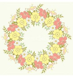 Floral wreath vector - by ARNICA on VectorStock®