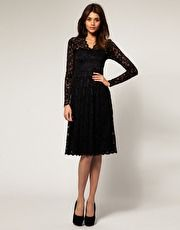 ASOS Lace Midi Dreww with Scalloped Neck