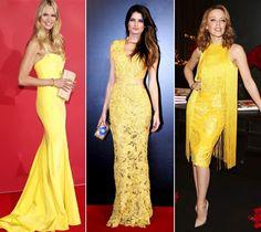 Amarelo no tapete vermelho: Elle Macpherson, Isabeli Fontana e Kylie Minoque investiram em looks com a cor em versão bold (Foto: Reprodução e Getty Images)
