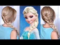 Elsa's big voluminous french braid hairstyle. Long hair tutorial from Frozen.