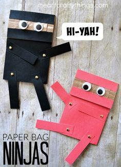 Paper Bag Ninja Craft for Kids .Hi-Yah! - Crafts for Kids - Do your kids love ninjas? They will adore this paper bag ninja craft that is a craft and puppet all - Crafts For Kids To Make, Craft Activities For Kids, Preschool Crafts, Art For Kids, Ninja Games For Kids, Older Kids Crafts, Paper Crafts For Kids, Arts And Crafts For Kids For Summer, Kids Arts And Crafts