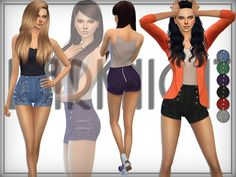 The Sims Resource: Denim High Waist Shorts by DarkNighTt • Sims 4 Downloads