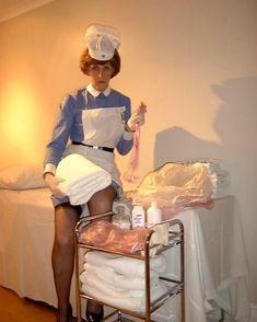 """oldnslow: """" freelyelegantgiver: """" thenappylover: """" Nurse Jenny insists you get pinned into these nappies! Me first 😛 """" I would do whatever Nurse Jenny tells me to do. Pvc Hose, Women Bow Tie, Plastic Pants, Terry Towel, How Big Is Baby, Straight Skirt, White Shirts, Cool Girl, Baby Boy"""