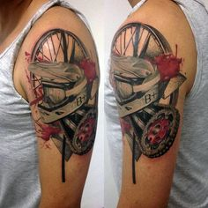 70 Motocross Tattoos For Men - Dirt Bike Design Ideas Dirt Bike Tattoo, Motocross Tattoo, Bike Tattoos, Motorcycle Tattoos, Motorcycle Helmets, Tattoos Arm Mann, Arm Tattoos For Guys, Tatoos, Tatouage Dirt Bike
