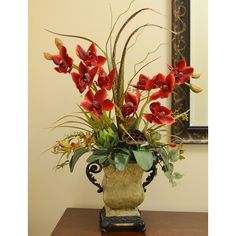 Floral Home Decor Faux Cymbidium Orchids in Resin Planter