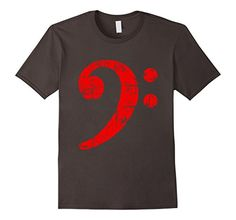 Bass t-shirts with a distressed red bass clef for bass players, musicians, bassists, e-bass and bass guitar players and instrumentalists with tuba or bassoon. If you are interested in music, musicians, bass clefs, classical music, jazz, musical symbols, bassist, bassists, bass guitar player, tubaist, double bass, contra bass, orchestra, you might like this shirt. The distressed imprint gives your shirt a nice 'used look' appearance.