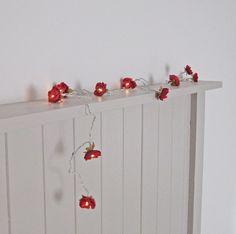 Wild Roses Fairy Lights  Deep Red by PamelaAngus on Etsy, €17.00