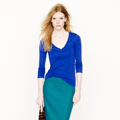 Perfect-fit long-sleeve V-neck tee. JCrew