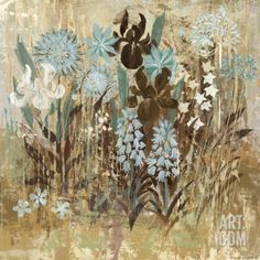 Floral Frenzy Blue III Art Print by Alan Hopfensperger at Art.com