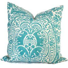 Quadrille Turquoise Veneto Pillow Cover Square by PopOColor