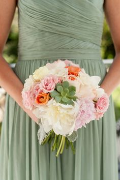 Brittany and Ryan Photo By Scobey Photography, succulent in bouquet, celadon and peach wedding