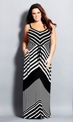City Chic - CHEVRON MAXI DRESS - Women's Plus Size Fashion - Taste of Summer // City Chic 2014 Swim + Resort - City Chic Your Leading Plus Size Fashion Destination #citychic #citychiconline #newarrivals #plussize #plusfashion #swim #citychicswim14 #resort