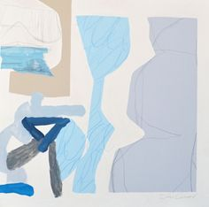 "Brian Coleman, ""Study in Blues and Grays"", Mixed Media on Canvas, 26x36 - Anne Irwin Fine Art"