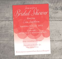 Bubbly, Elegant and Fun Bridal Shower Invitation - Multiple Colors Available - Custom Colors and Wording. $20.00, via Etsy.    wedding shower invites