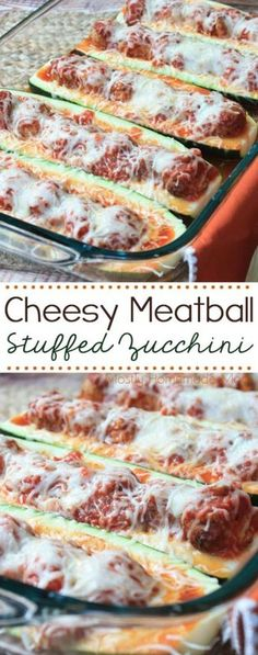 Cheesy Meatball Stuffed Zucchini is super simple and easy for a weeknight meal! Zucchini boats filled with tomato sauce, meatballs, and mozzarella cheese – your family will go nuts for this recipe! Would make gluten free meatballs instead of store bought. Meatball Recipes, Beef Recipes, Cooking Recipes, Tapas Recipes, Cheap Recipes, Cooking Bacon, Budget Recipes, Family Recipes, Gourmet