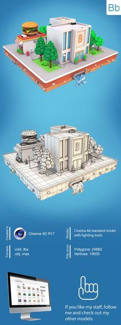 Low Poly City Block With Bank 3D Model Formats: max, maya, c4d, blend, fbx, obj