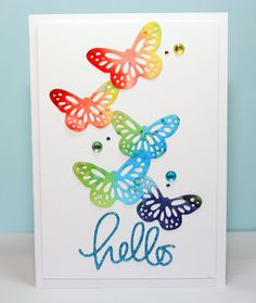 #SSS, #SSSFaves, Simon Says Stamp small hello die and watercolored butterflies dies and a video ;-)