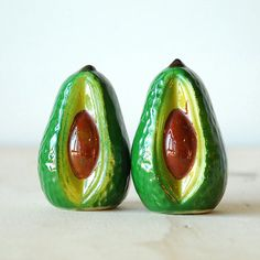 Vintage Avocado Salt and Pepper Shaker Set Ceramic Fruit Shakers California Cool