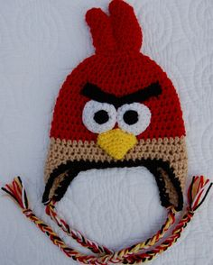 Angry birds crocheted hat