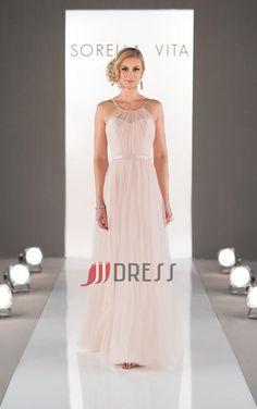 JJDRESSES In UK Dresses For 2015 Fairytale A-Line Scoop Sleeveless Floor Length Chiffon Bridesmaid Dresses