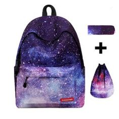 Backpacks Brand Sets Women Backpack Star printing backpack Canvas School Bags for Teenager Girls Shoulder drawstring Bag Colorful Backpacks, Cheap Backpacks, School Backpacks, Girl Backpacks, Mochila Galaxy, Backpack Brands, Women's Backpack, Galaxy Backpack, School Bags For Girls
