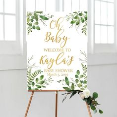 Greenery Oh Baby Welcome Sign, Baby Shower Welcome Sign, DIGITAL Green and Gold Welcome Baby Shower Sign, Printable Eucalyptus Baby Shower - Babydusche Baby Shower Verde, Fiesta Baby Shower, Baby Shower Fun, Baby Shower Balloons, Baby Shower Parties, Baby Shower Themes, Shower Ideas, Jungle Theme Baby Shower, Baby Shower Table Decorations